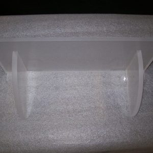 Acrylic 12″ shelf with corbal brackets glued on