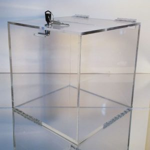 Clear Acrylic Locking Ballot Box, 6″l x 6″w x 6″h