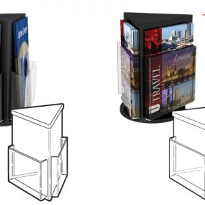 Revolving Triple Brochure Holder, 4″ x 9″ Brochures