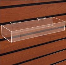 Acrylic Slatwall Tray, 12″l x 4″w x 2″h