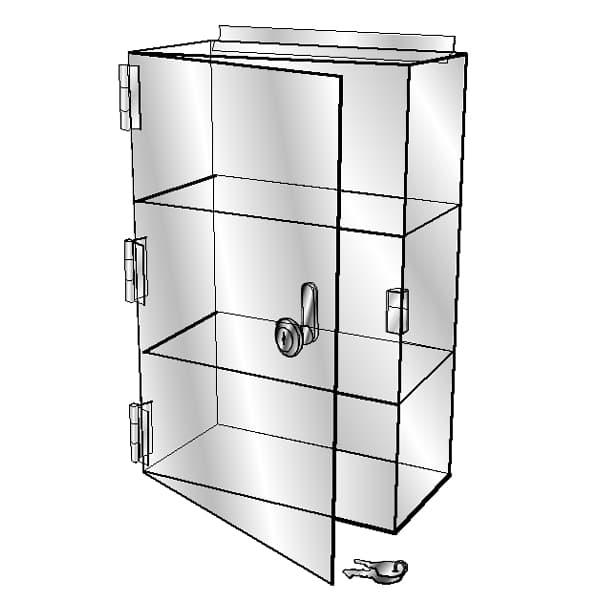 Slatwall Showcase, 3 Shelves, 13″l x 7-1/2″w x 21″h