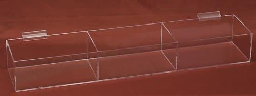 Acrylic Slatwall Tray, 3 Compartments, 16″w