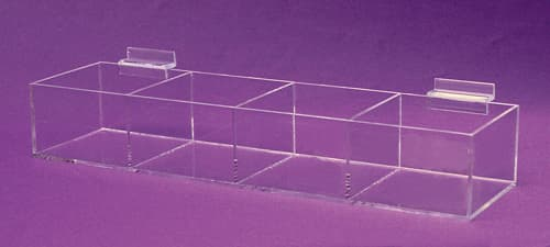 Acrylic Slatwall Tray, 4 Compartments, 16″w
