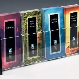 Acrylic multiple brochure holder for four 4 x 9 brochures