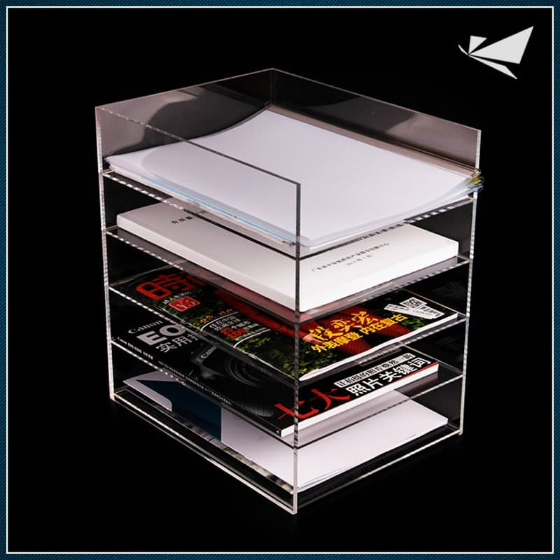 Acrylic 5 compartment file organizer