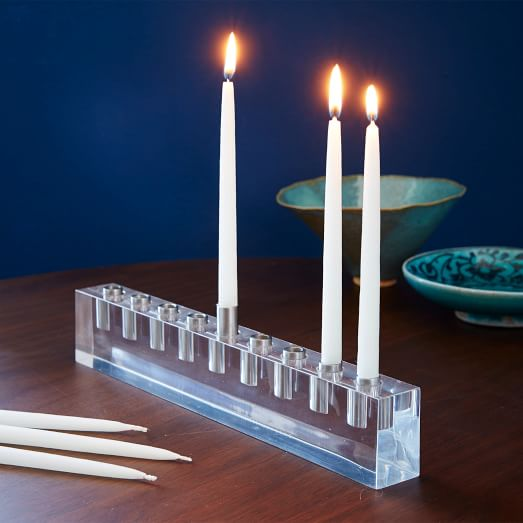 Acrylic Menorah 12″ x 1.25″ x 3″ tall