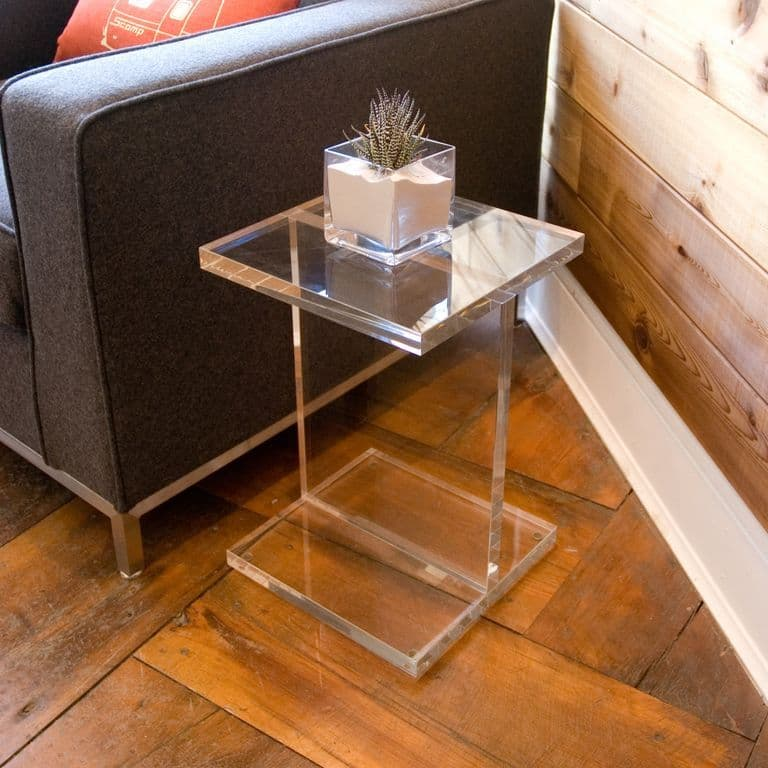 Acrylic Side Table 16″ x 16″ x 24″ tall 1.50″