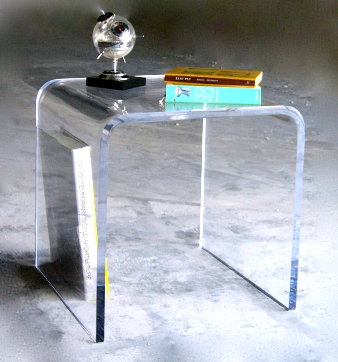 Acrylic Side Table 16″ x 16″ x 24″ tall 1/2″ Waterfall Style
