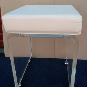 Acrylic Vanity Stool Waterfall Style 1.00″ clear w/Casters