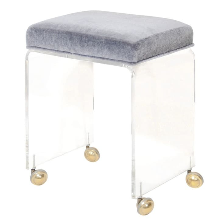 Acrylic Vanity Stool Clear 24″ tall Waterfall Style