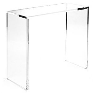 Acrylic console table 36″ x 15″ x 29″ tall 1.00″ Square Corners