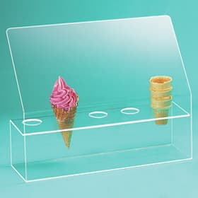 Clear acrylic Ice Cream Cone display with sneeze guard