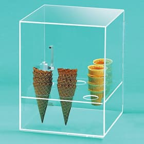 Clear acrylic Ice Cream Cone display with magnetic catch door