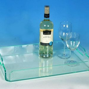 Acrylic serving tray glass green 20″ long