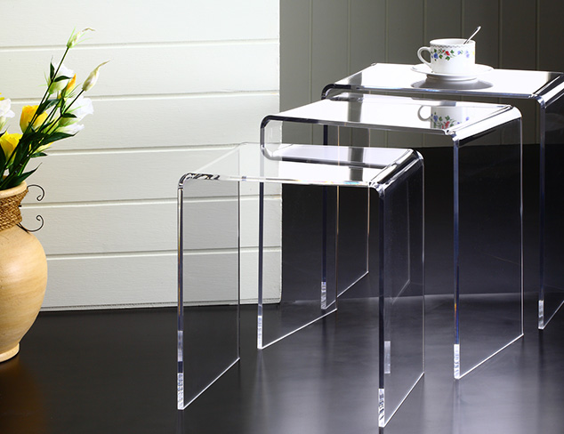 Acrylic Side Table, Waterfall Style Set of 3