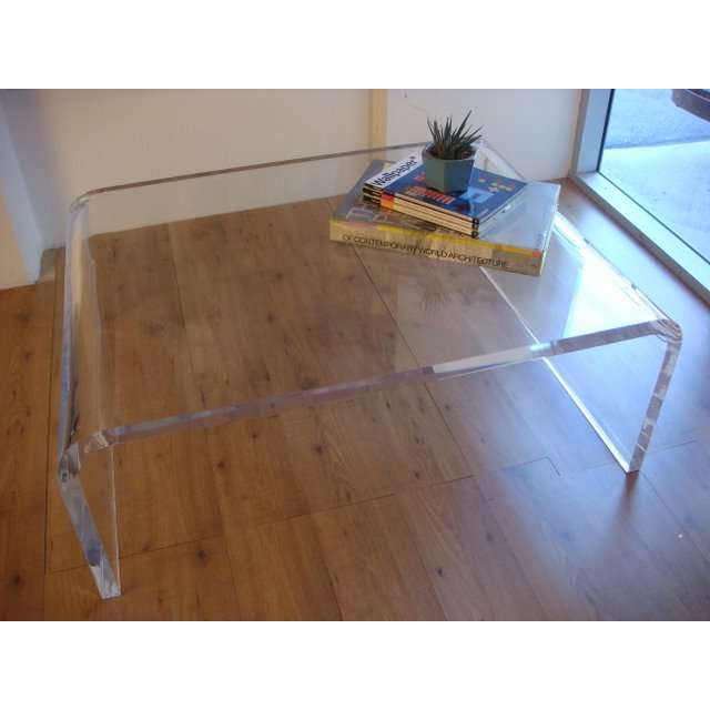 36″ x 24″ x 18″ tall waterfall coffee table 1.250″ thick acrylic
