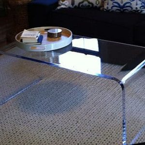 36″ x 18″ x 18″ tall waterfall coffee table .750″ thick acrylic