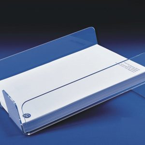 Clear acrylic slanted desk paper tray