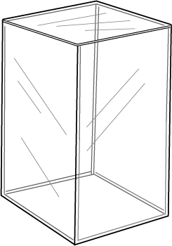 5-Sided Acrylic Cube, 10″l x 10″w x 15″h