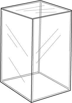 5-Sided Acrylic Cube, 12″l x 12″w x 18″h