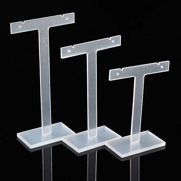 T bar earing stands, set of three clear