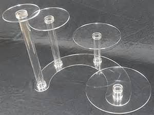 Acrylic Wedding Cake Stand With Multiple Pedestals