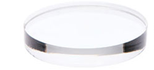 12″ dia clear acrylic base, 2 1/2″ thick with bumpons