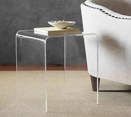 Acrylic side table, waterfall style