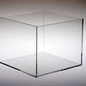 10″ x10″ x10″ cube with rabetted base (1/4″ clear