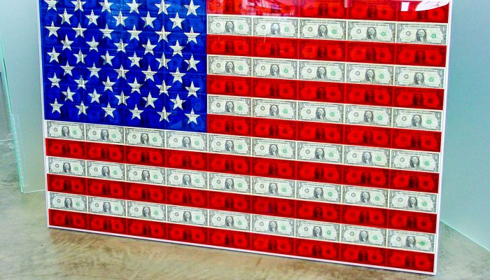 Extra large acrylic poster frame with silk-screened flag with money framed