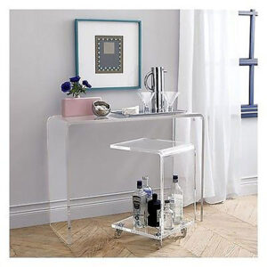 Acrylic Console Table Waterfall Style 46″ x 12″ x 36″ tall 1.00″ material